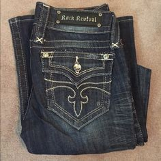 """Rock Revival Bootcut Jeans Very flattering bootcut! Dark wash.  Selling because they don't fit me.  Only worn one time!  Inseam is 33"""" Rock Revival Jeans Boot Cut"""