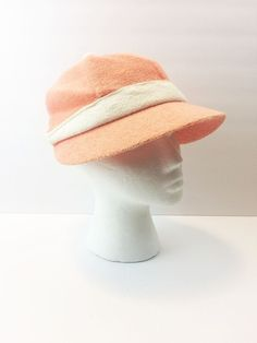 Mr. John Terrycloth Tennis Hat Vintage Peach and White (Sportifs) 1970s Fashion #MrJohnSportifs #Visor #Everyday