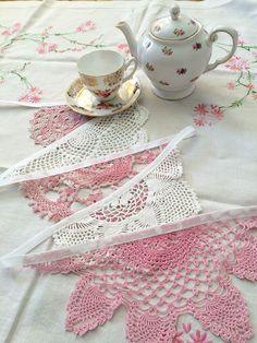 Vintage Crochet Doily Bunting Decoration Garland White + Pink 5m Wedding Nursery
