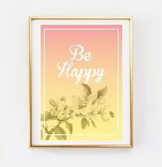 Be Happy Poster Wall Decor Minimal Art Nature by LovelyPosters