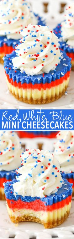 These Red, White and Blue Mini Cheesecakes are smooth, creamy and easy to make! A perfect cheesecake recipe for your of July celebration! Patriotic Desserts, 4th Of July Desserts, Fourth Of July Food, Mini Desserts, July 4th, Perfect Cheesecake Recipe, Mini Cheesecake Recipes, Raspberry Cheesecake, Oreo Cheesecake