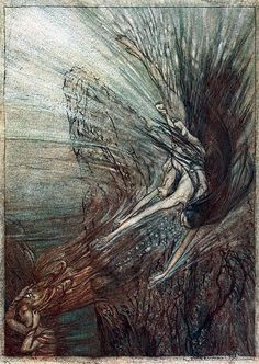 The Rhine maidens playing in the waters of the Rhine by Arthur Rackham