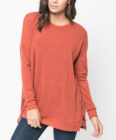 Loving this Rust Ribbed-Trim Drop-Shoulder Sweater on #zulily! #zulilyfinds