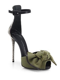 Giuseppe Zanotti Python and Canvas Bow Sandals