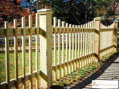 The Sunset Scalloped Wood Picket Fence Garden Trellis, Garden Fencing, Backyard Fences, Backyard Landscaping, Fence Design, Garden Design, Good Neighbor Fence, Wood Picket Fence, Rustic Fence