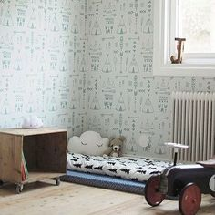 Teepee Childrens Wallpaper by Hibou Home. Buy online from Just Kids Wallpaper.