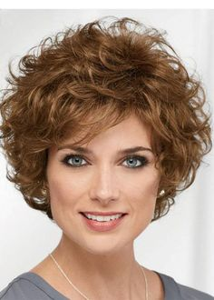 Get your favorite Curly Brown Short Designed Classic Wigs at lowest price possible. New arrivals and trendy wigs.The most natural look & feel. Curly Hair Cuts, Short Curly Hair, Short Hair Cuts, Curly Hair Styles, Short Wigs, Long Hair, Trending Hairstyles, Curly Bob Hairstyles, Hairstyles With Bangs