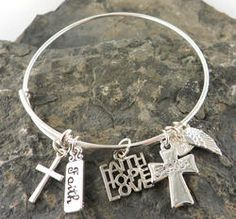 Faith and Crosses Adjustable Wire Bangle Bracelet