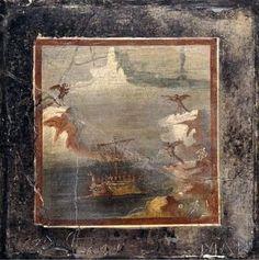 """""""Ulysse et les Sirènes"""" Fresque de  Pompéi Milieu du 1er siècle après JC @britishmuseum"""