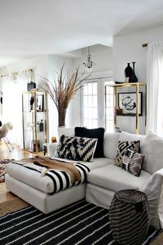 Beautiful 48 Black And White Living Room Ideas | Black White Gold, Spectrum And White  Gold Part 27