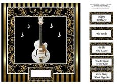 White Guitar 8x8 Black Gold For Men Women Card Topper on Craftsuprint designed by Elaine Sheldrake - Perfect for lovers of guitar music, ideal for Birthdays, Retirement etc. Quick and easy to make, with or without the decoupage.One of a series of cards for Men and Women. To make these into 4 x 4 inch cards, simply print two A5 sheets onto an A4 sheet using your printer's software. - Now available for download!