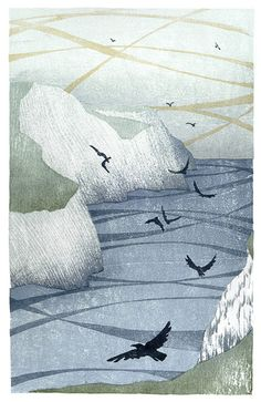 Off the Cliffs, Freshwater - Japanese waterbased woodblock - Laura Boswell