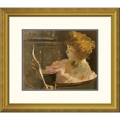 "Global Gallery 'Jesse Steele Reading' by John White Alexander Framed Painting Print Size: 22.77"" H x 26"" W x 1.5"" D"
