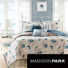@Overstock - Create a bedroom coastal getaway with the Nantucket Coverlet Collection. Made from polyester microfiber, the coverlet and shams feature assorted seashells accentuated with light and dark blue coloring with a taupe coral motif on an ivory background.http://www.overstock.com/Bedding-Bath/Madison-Park-Nantucket-6-piece-Coverlet-Set/7827995/product.html?CID=214117 $89.99