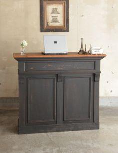 2トーンカラーのショップカウンター、ペイント仕上げのアンティーク家具 (x-824-f)