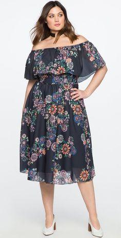Plus Size Off the Shoulder Midi Dress