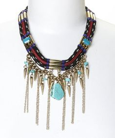 Another great find on #zulily! Gold & Turquoise Cord & Chain Bib Necklace #zulilyfinds