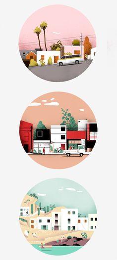 Borja Bonaque / Views on Behance Autumn Illustration, Landscape Illustration, Graphic Design Illustration, Digital Illustration, Illustrator, Posca Art, Building Illustration, Affinity Designer, Illustrations And Posters