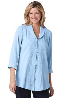 Plus Size Shirt, tunic length, in soft textured cotton gauze with embroidery, 3/4 sleeves