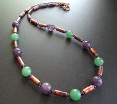 Amethyst, Aventurine and Copper Necklace - 8mm round amethyst, aventurine beads contrast handmade copper beads in this necklace. - pinned by pin4etsy.com