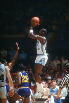 Michael Jordan Unc, Michael Jordan North Carolina, Jordan 23, Dean Smith, Patrick Ewing, Ncaa, Vintage Bedroom Decor, Sneaker Brands, Running