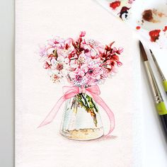 Still Life Spring Apple Flowers Watercolor Print, Watercolor Flowers, Watercolor…