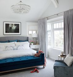 Terris Lightfoot - bedrooms - blue and gray bedrooms, bedroom chandeliers, bling chandelier, gray headboard, gray wingback headboard, peacoc...