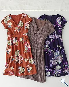 If I could, I'd live in dresses ... the pumpkin & dark purple floral will be lovely for fall. Wish they weren't so $$$