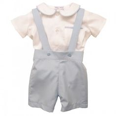 James romper set. Shirt onesie with Peter Pan collar and matching dunagree style shorts. Totally gorgeous Christening outfit for baby boys
