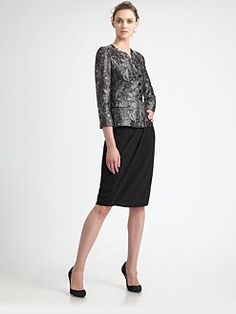 Armani Collezioni - Metallic Floral JAcket, Techno Cady Skirt