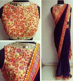 Blue saree with net thread work blouse