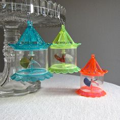 Vintage Spinner Christmas Ornaments, 1950s Mid Century Bird Cage Set of Three - I still have some of my Grandma's spinners ♥