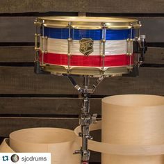 #Repost @sjcdrums with @repostapp.  6.5x14 maple snare w/ red white and blue ripple wrap and weathered brass hardware! This recently went out to our dude Marius Bell down in FL! #sjcdrums #drums #red #white #blue #instagood #drumporn #snaredrum #snare by michael_moro9