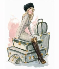 #Travel #Girls #Illustration #Valise #Suitcase #Fashion #Summer #Holiday #Vacation
