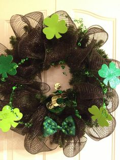 Black Geo Mesh St Patrick's Day wreath by MISSmartypants on Etsy, $42.00