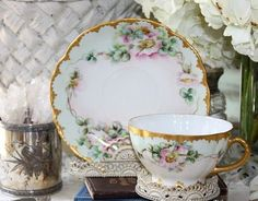 Antique Rosenthal Handpainted Pink Roses Tea Cup