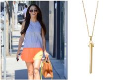 Cara Santana wearing our gold Rebel Pendant Necklace. #stelladotstyle #celebritystyle #rebel