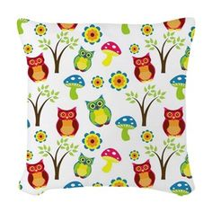 cuteness: Cartoon Owl Woven Throw Pillow: Cute as a gift Whimsical Owl, Woodland Art, Leaf Animals, Owl Cartoon, Wedding Envelopes, Artwork Prints, Decorative Throw Pillows, Gifts For Kids, Baby Gifts