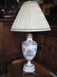 Brass Lamp Pat App For E677 With Tiffany Style Slag