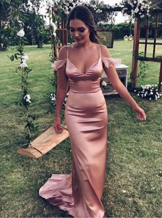 Lovely Cold Shoulder Long Satin Mermaid Evening Dress Formal Party Gowns 2017