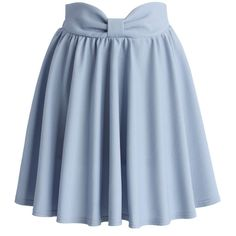 Chicwish Delight My Bow Skater Skirt in Blue ($38) ❤ liked on Polyvore featuring skirts, bottoms, saias, blue, elastic waist skirt, skater skirt, flared skirt, circle skirt and blue skirt