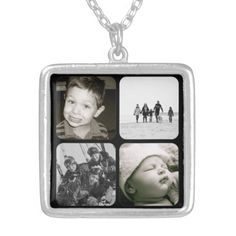A beautiful keepsake for any mom or grandmother, this necklace features four black framed spots to fill with her favorite family photos or portraits of children. A lovely gift for her this Mother's Day. Available in three sizes. From PlanetJill store at Zazzle.com