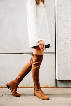 Camille Styles in the LOWLAND Boots in the Walnut Suede.