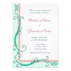 Blush Peach  Mint  Wedding Invitation at http://www.zazzle.com/blush_peach_mint_wedding_invitation-161904308018157529?rf=238505586582342524