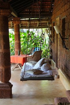 Hanging Bed on a Bohemian Porch Outdoor Hanging Bed, Hanging Beds, Outdoor Rooms, Outdoor Living, Hanging Chairs, Outdoor Kitchens, Outdoor Decor, Indian Swing, Bohemian Porch