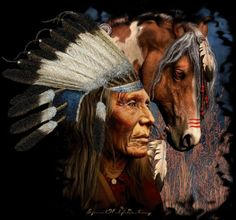 Native American Indian Chief and his horse Native American Horses, Native American Pictures, Native American Artwork, Native American Wisdom, Indian Pictures, Native American Artists, American Indian Art, Native American History, Indian Pics