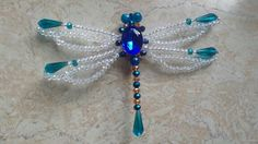 Dragonfly beads beaded insects pin broche