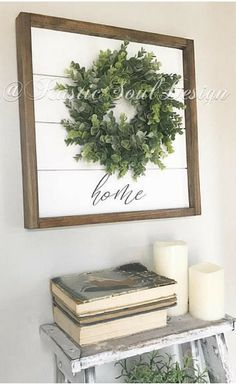 Perfect farmhouse style sign for my living room. Love the simplicity! And it has shiplap! home wreath sign, Shiplap wreath sign, farmhouse wreath, fixer upper inspired decor, farmhouse sign, eucalyptus wreath, shiplap sign, rustic decor #ad #rustichomedecor #Rusticdecor
