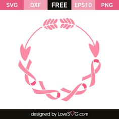 *** FREE SVG CUT FILE for Cricut, Silhouette and more *** Arrow and cancer ribbons monogram frame