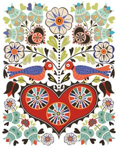 Fraktur birds and hearts